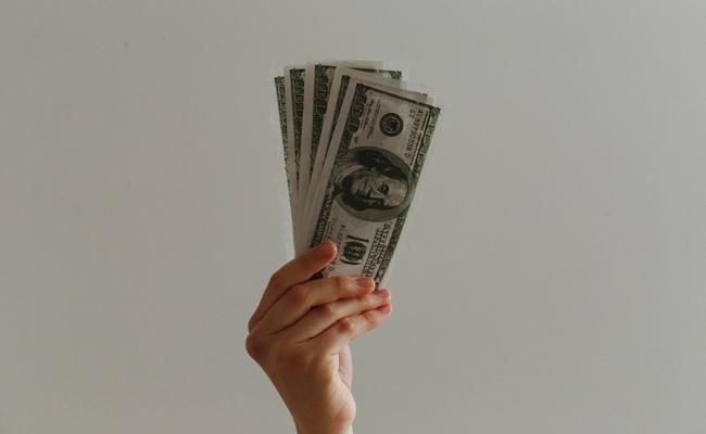 ドルを持つ手